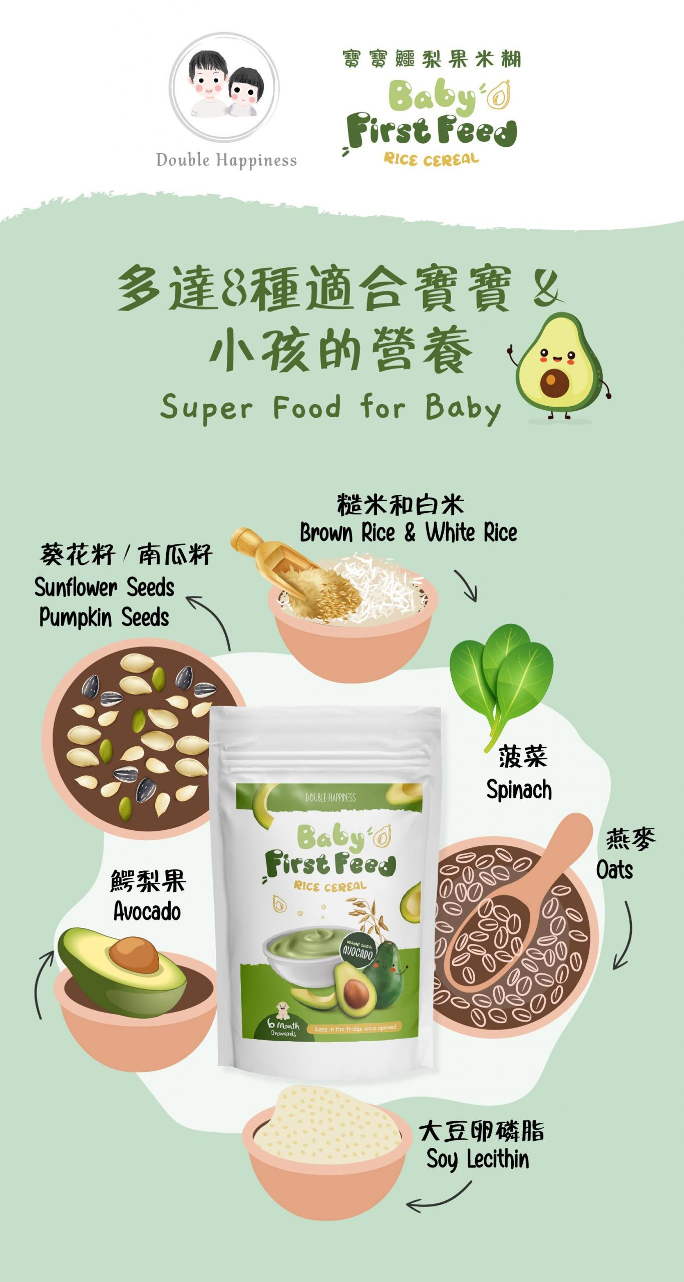 Avocado baby rice cereal